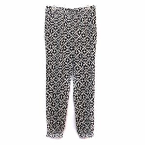 NEW LIMITED Black Cream Floral Cropped Ankle Pants